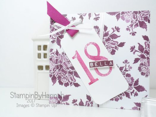 Fresh Florals 18th Birthday Card Envelope using Number of Years from Stampin' Up!