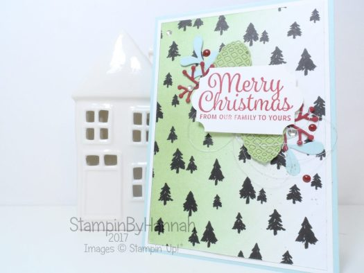 Merry Christmas Card using Patterned Paper and Die Cuts from Stampin' Up!