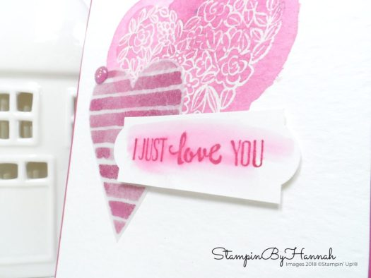 Watercoloured Valentines card using Heart Happiness from Stampin' Up!