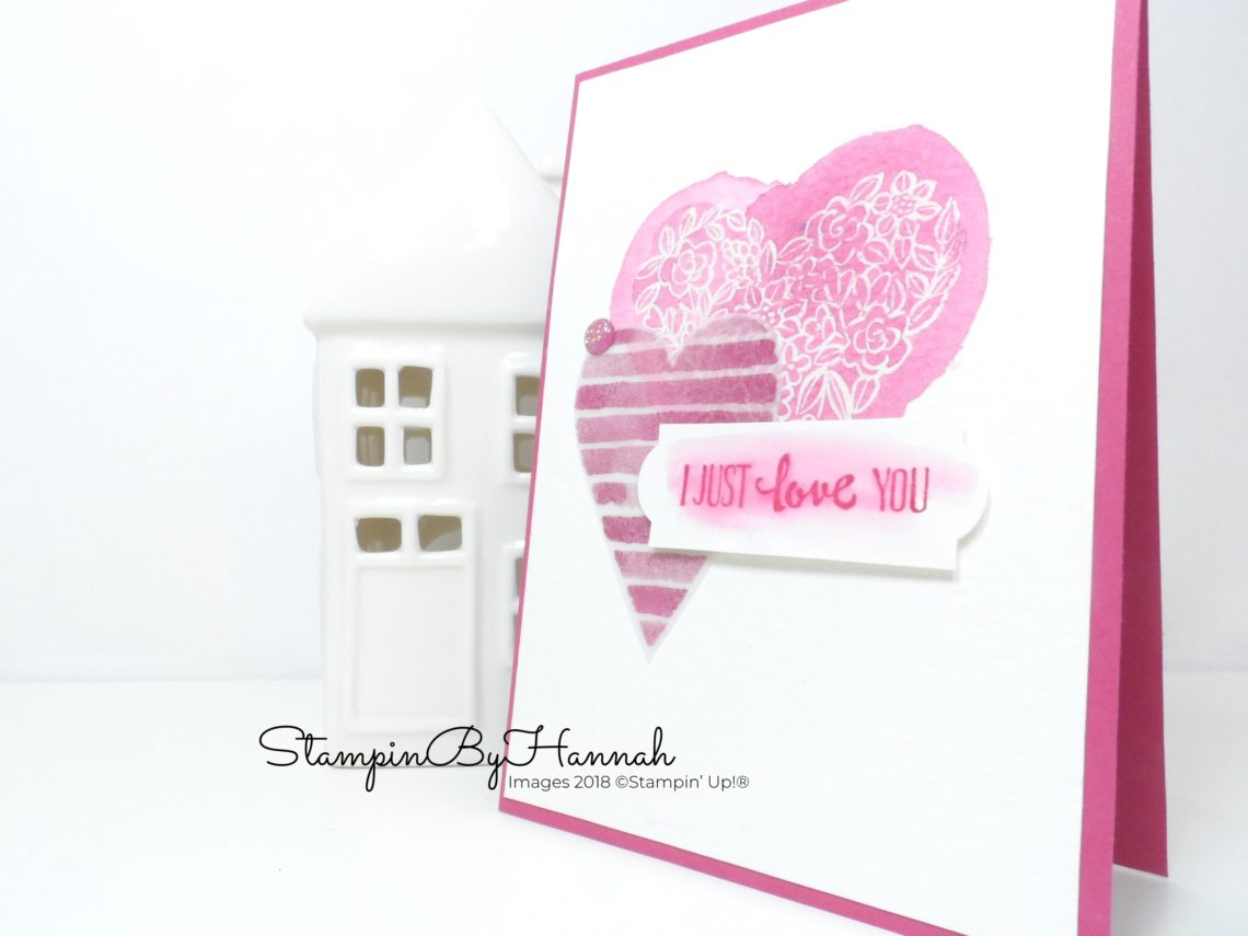 How to make a fun watercoloured Valentines card using Heart Happiness from Stampin' Up!