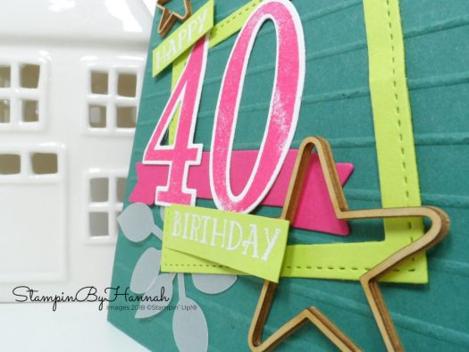 Tranquil Tide 40th Birthday Card using Number of Years from Stampin' Up!