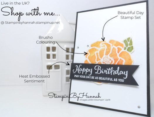 Techniques series Fun Birthday Card using Brusho and Beautiful Day from Stampin' Up!