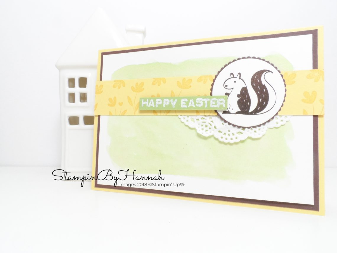 Watercolour background Easter Card using Hedgehugs from Stampin' Up!