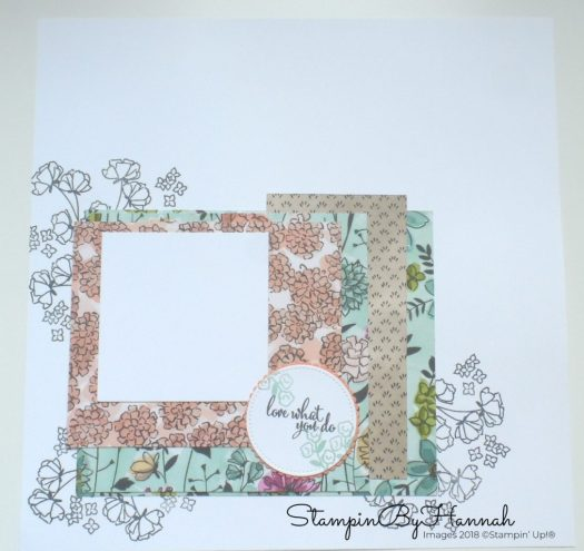 Share What You Love 12 x 12 Scrapbook page using Love What You Do from Stampin' Up!