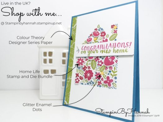 How to make a bright and fun New Home card with Stampin' Up! Home Life Stamp and Die Bundle