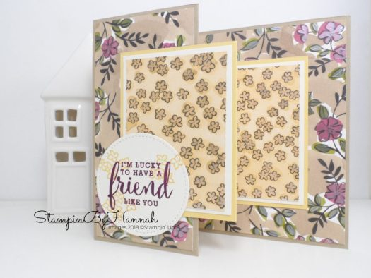 Facebook Live with StampinByHannah Share What You Do Designer Series Paper Z Fold Card Tutorial using Love What You Do from Stampin' Up!