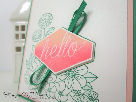 Ombre stamping and Accented Blooms Hello card using Stampin' Up! products