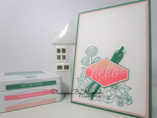Hello card using Call Me Clover and Accented Blooms from Stampin' Up!