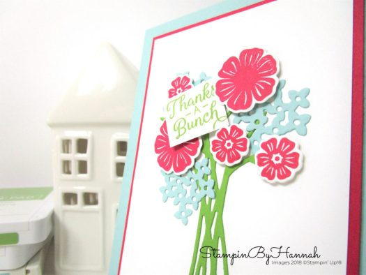 Pretty Floral Thank you card with die cut flowers using Beautiful Bouquet from Stampin' Up!