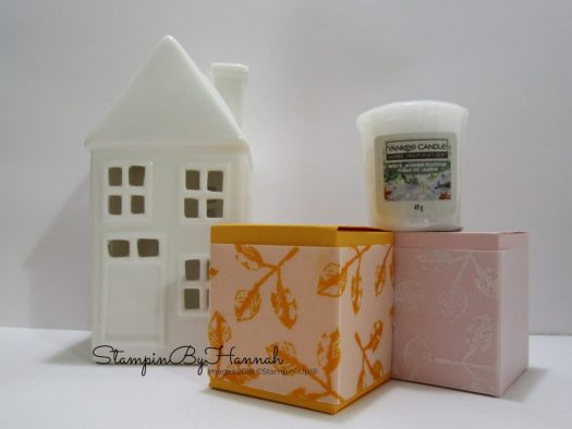Fun stamped vellum box using Painted Harvest from Stampin' Up!