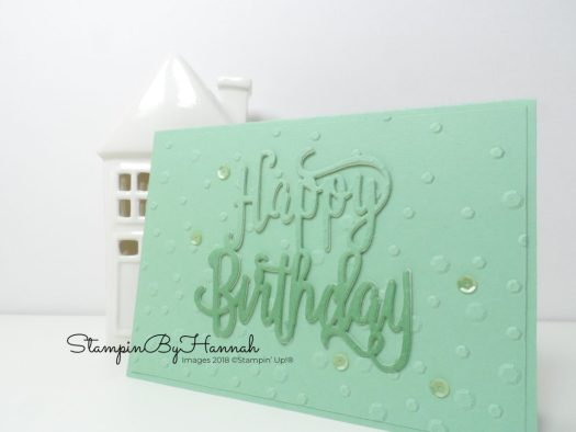 Monotone Mint Birthday Card using the Sequin Embossing Folder from Stampin' Up!