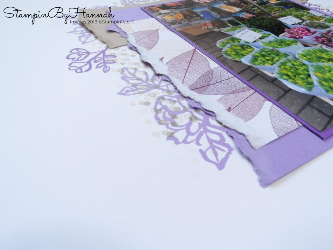 Fun Stamped Scrapbook page using Flower stamps from Stampin' Up!