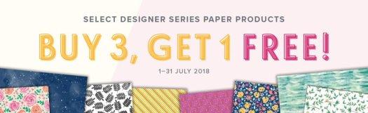Stampin' Up! Buy 3 get 1 free designer Series Paper sale