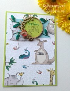 Fun Children's card using Animal Expedition Designer Series Paper from Stampin' Up! by Sally Shaw