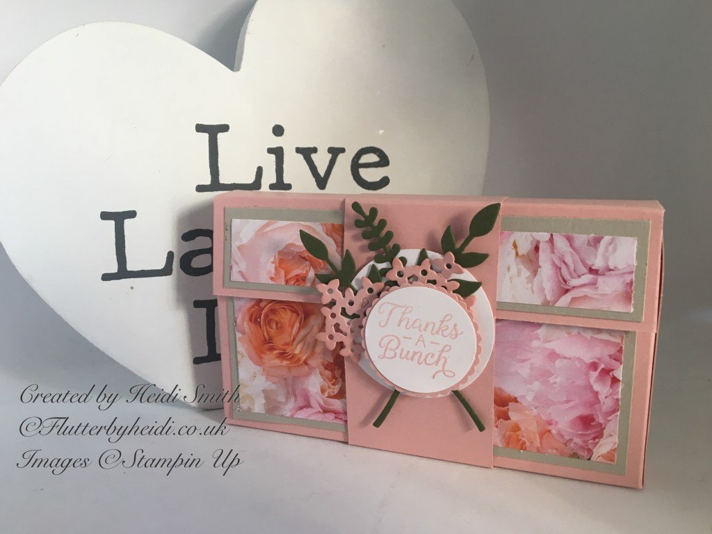 Narrow note card box using Petal Promenade from Stampin' Up! by Heidi Smith