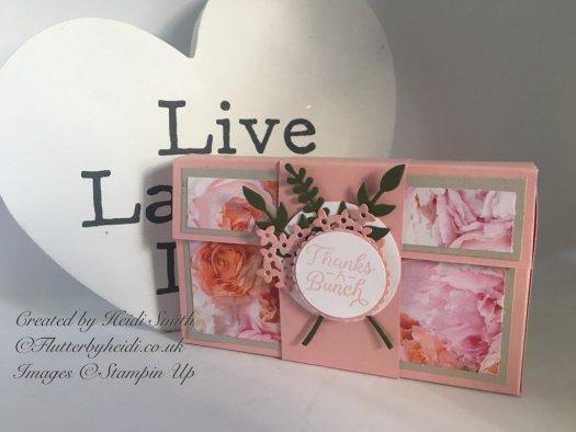 Narrow note card box using Petal Promenade from Stampin' Up! by Heidi Smith
