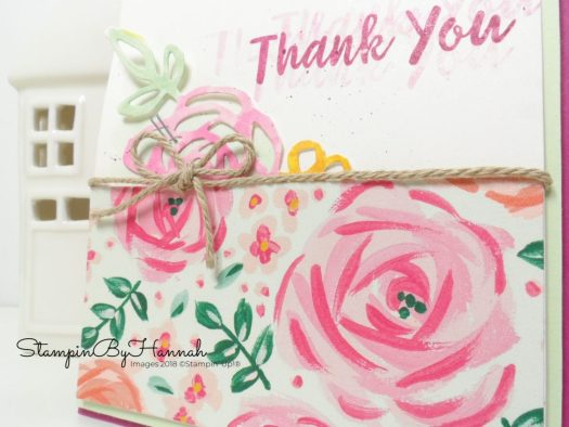 Pretty Floral Thank You card using Garden Impressions Designer Series Paper from Stampin' Up!