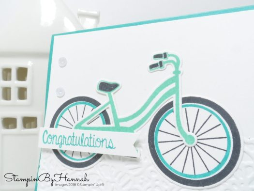 Fun Congratulations card with a bicycle using Bike Ride from Stampin' Up!