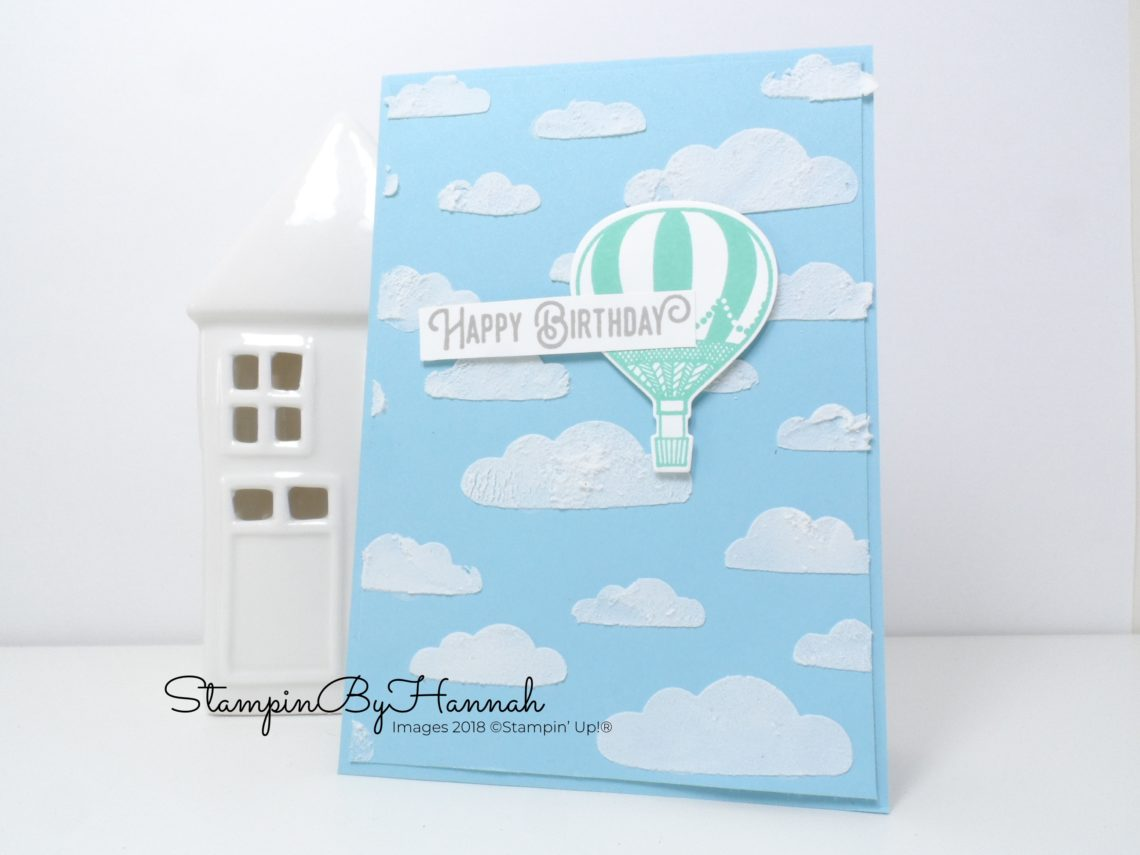 How to use embossing paste to create a fun Hot Air Balloon birthday card using Stampin' Up! products