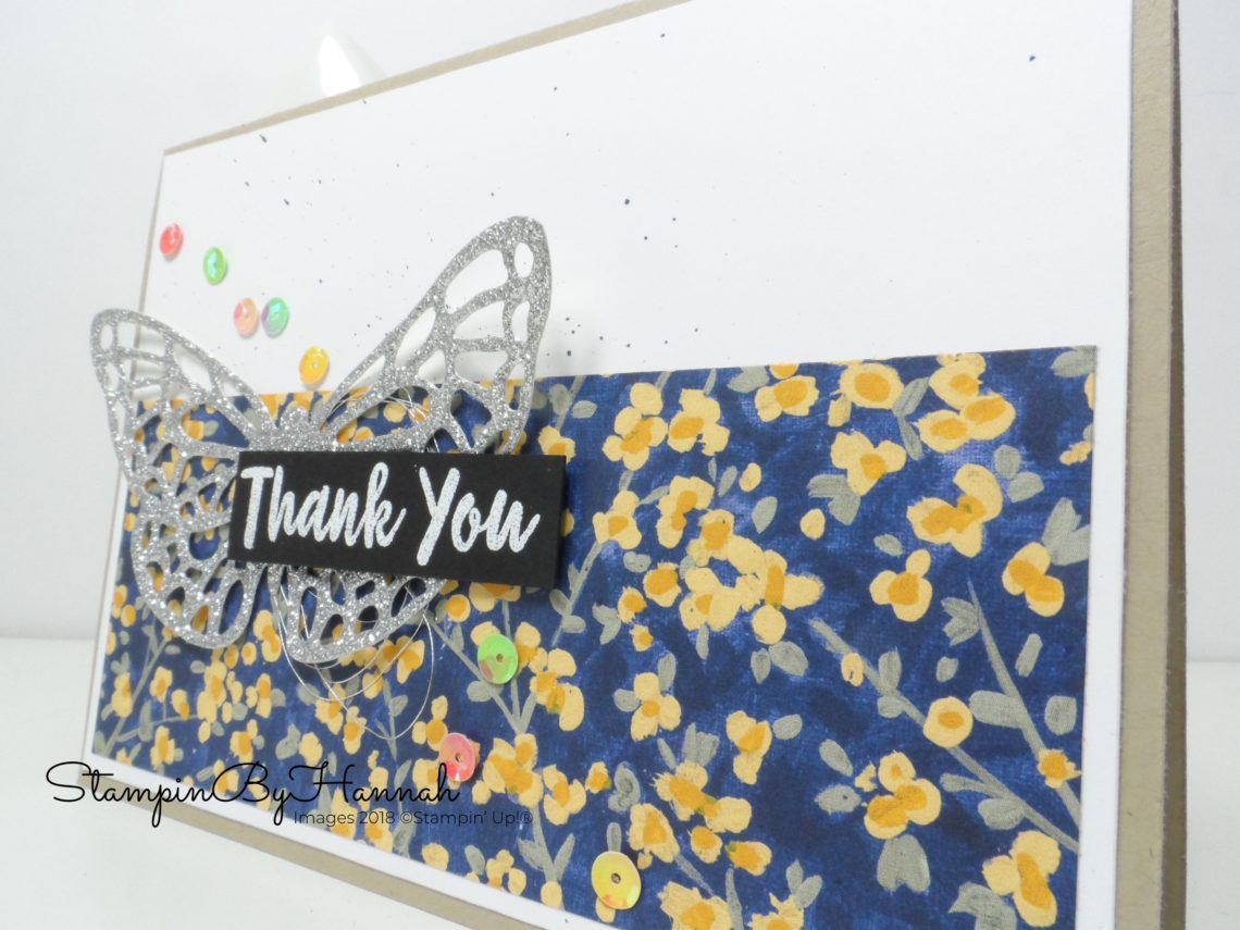 Pretty butterfly thank you card with lots of lovely sequins using the Abstract Impressions Bundle from Stampin' Up!
