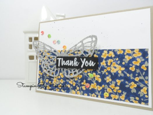Fabulous sparkly butterfly thank you card using Garden Impressions Designer Series Paper from Stampin' Up!