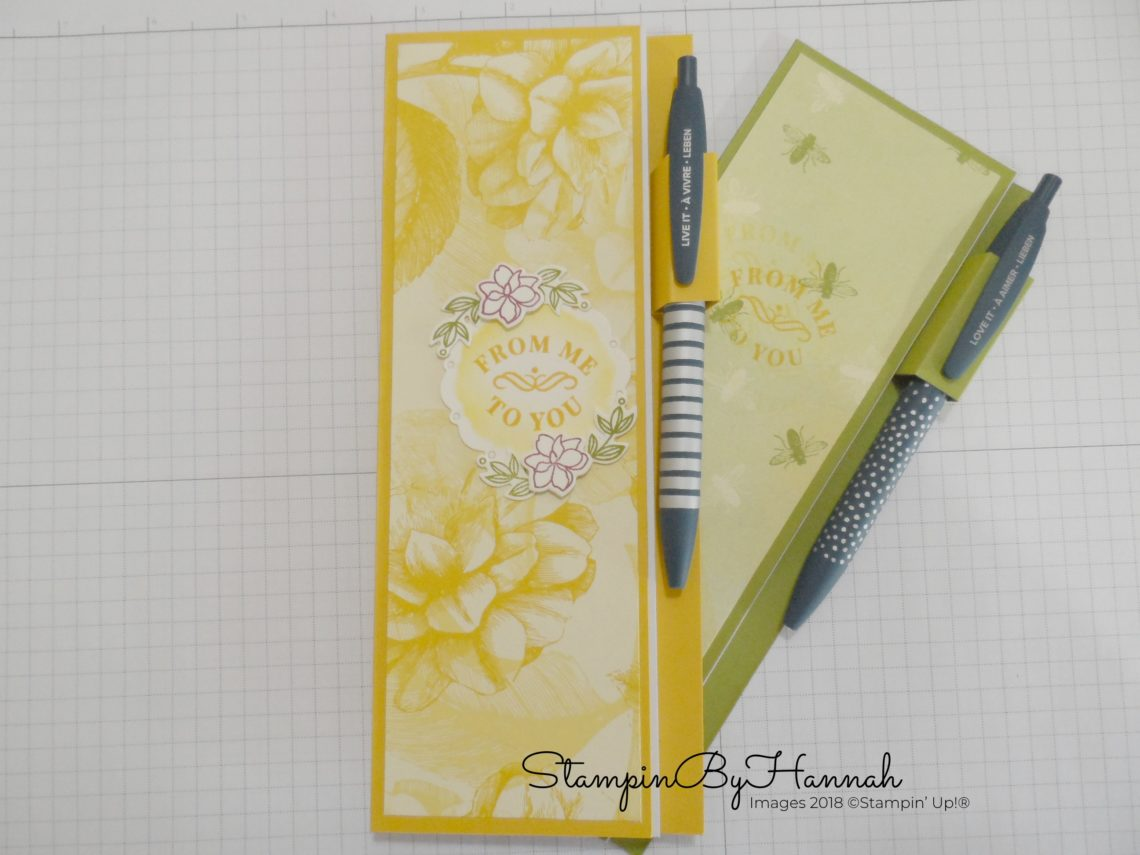 Jotter sized note book cover with pen loop DIY using Stampin' Up! products