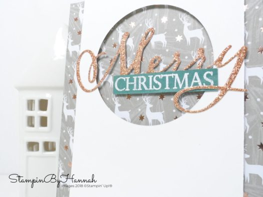 Merry Christmas Die Cut Card using Stampin' Up! products with StampinByHannah