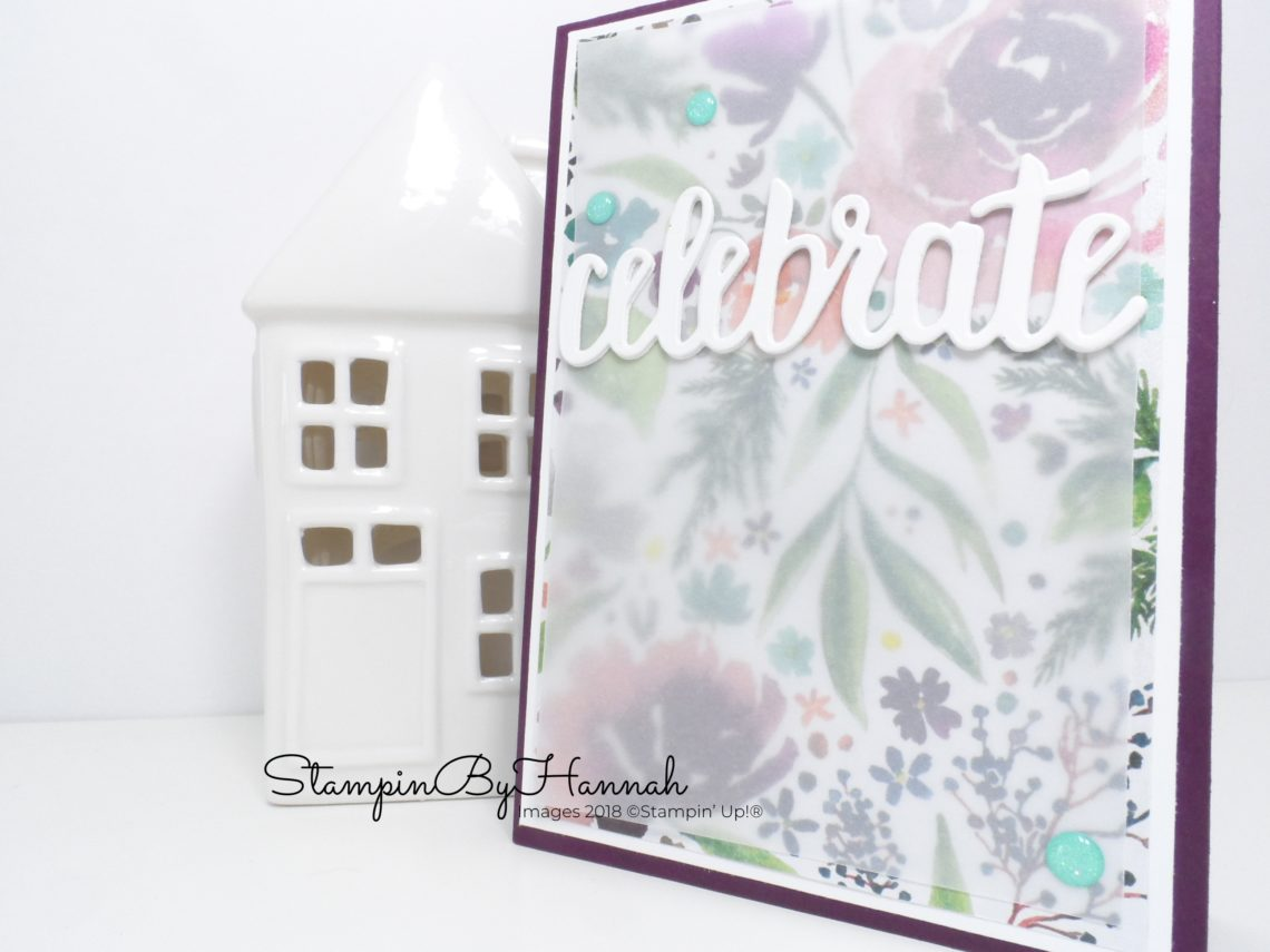 Inspire.Create.Challenge Theme challenge Celebrate Card using Frosted florals Designer Series paper from Stampin' Up!