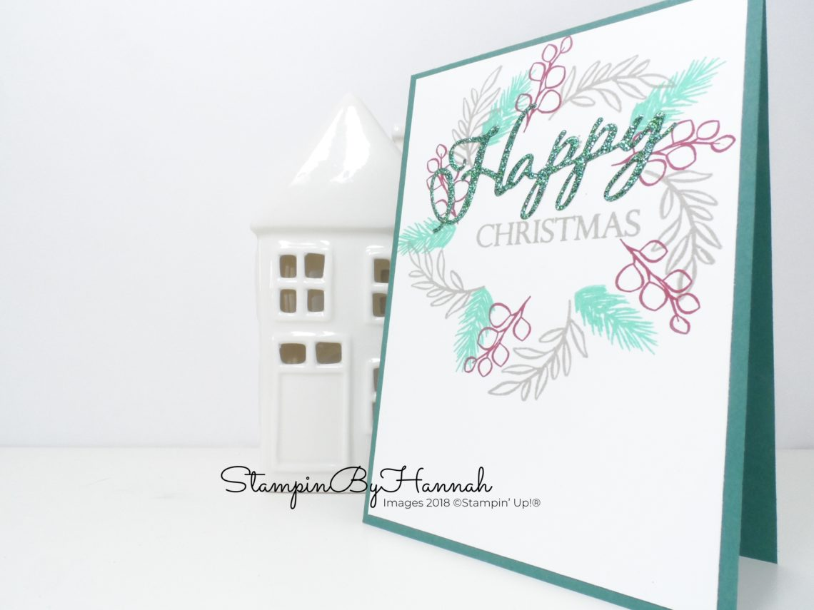 Wreath Christmas Card Quick and Easy Facebook Live using Stampin' Up! products