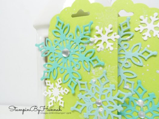 Christmas Countdown Non traditional Christmas tags using Snow is Glistening from Stampin' Up!