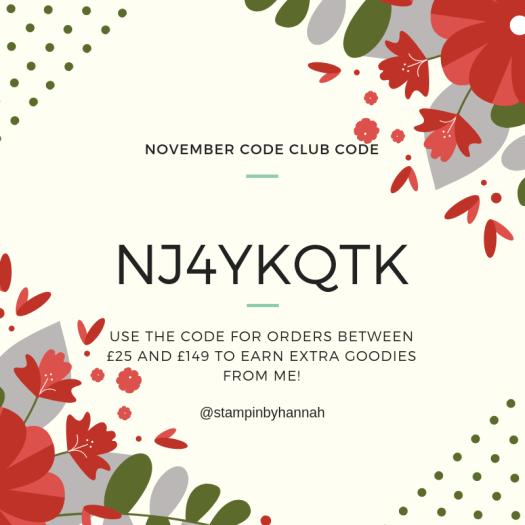 StampinByHannah Stampin' Up! Hostess Code Club Code November 2018