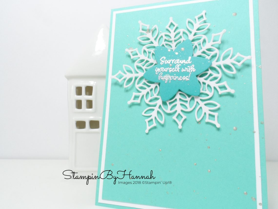 How to make a clean and simple Snowflake Christmas card using Snow is Glistening from Stampin' Up!