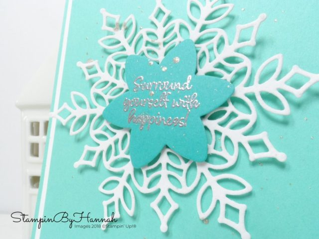 Large die cut snowflake Christmas card using snow is glistening from Stampin' Up!