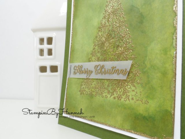 Green watercolour Christmas Tree Christmas Card handmade using Snow is Glistening from Stampin' Up!
