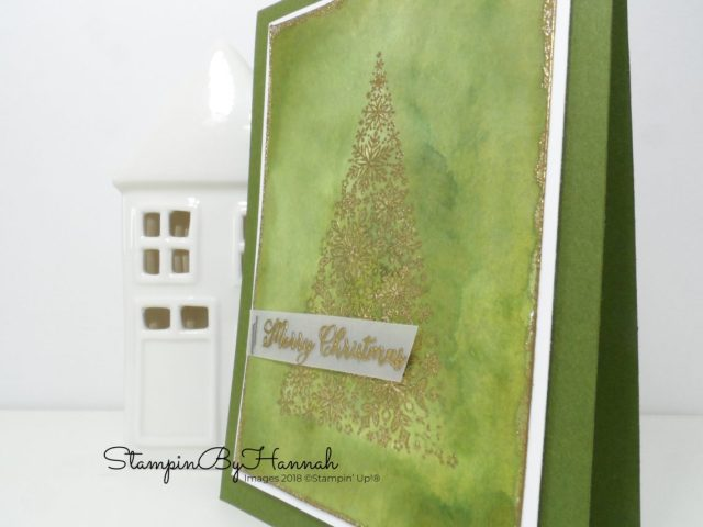 Simple Watercolour Christmas Card using Snow is Glistening from Stampin' Up!