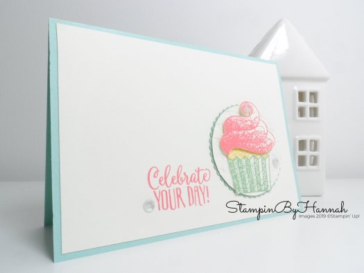How to make a fun birthday card using Hello Cupcake FREE during Sale-a-bration with Stampin' Up! and StampinByHannah