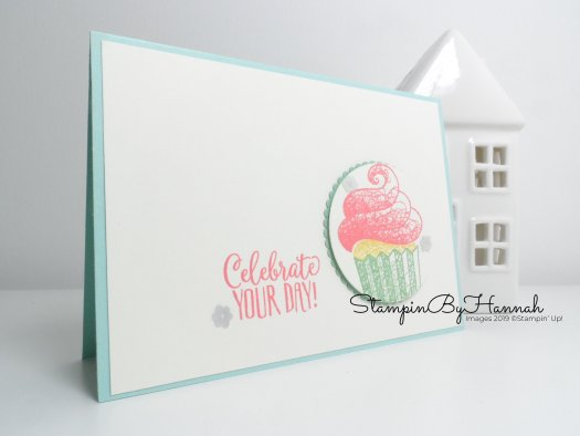 Handmade Birthday Card using Hello Cupcake from Stampin' Up! Sale-a-bration 2019 with StampinByHannah