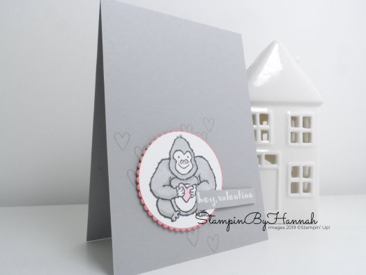 Hey Valentine cute hand stamped card using Hey Love from Stampin' Up! with StampinByHannah