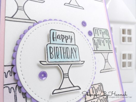 Simple watercoloured birthday card using Piece of Cake from Stampin' Up! with StampinByHannah