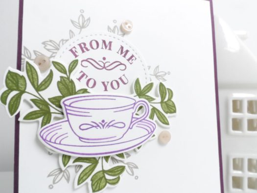 From me to you card using Time for tea from Stampin' Up! with StampinByHannah
