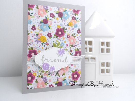 Cute Friendship card using Needlepoint Nook from Stampin' Up! with video tutorial from StampinByHannah