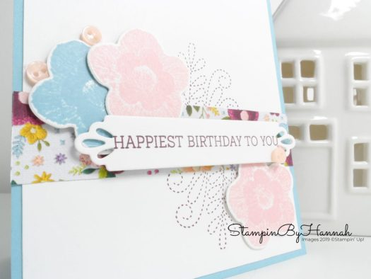 Hand stamped Birthday Card using Needle and Thread and the Needlepoint Nook suite from Stampin' Up! with StampinByHannah