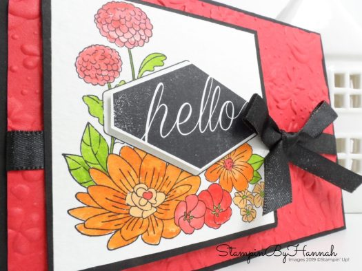 Watercolour Hello card using Accented Blooms from Stampin' Up! with StampinByHannah