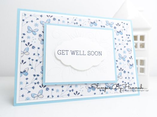Handmade Get Well Soon card using Needlepoint Nook from Stampin' Up! with StampinByHannah