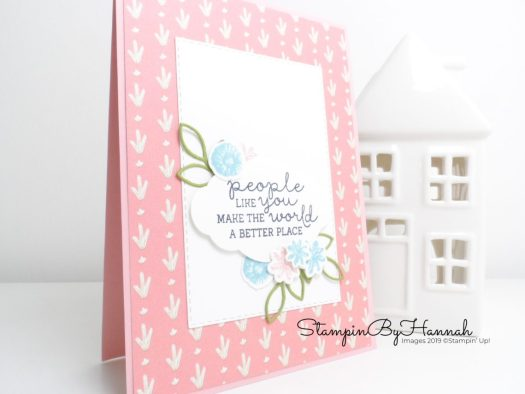 Pretty Just Because handmade card using Needlepoint Nook and Stitched Rectangle dies using Stampin' Up! products with StampinByHannah