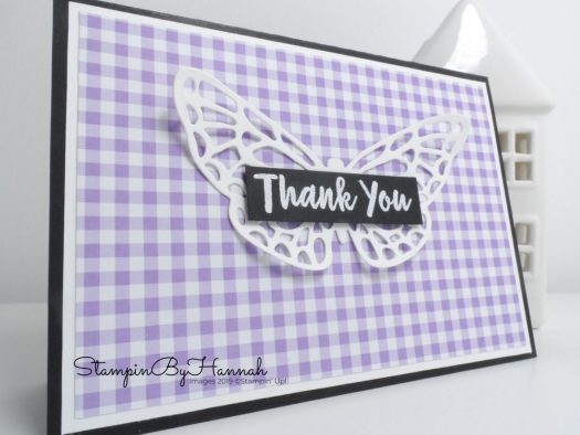Die Cut Thank You card using Butterfly die from Springtime Impressions from Stampin' Up! with StampinByHannah