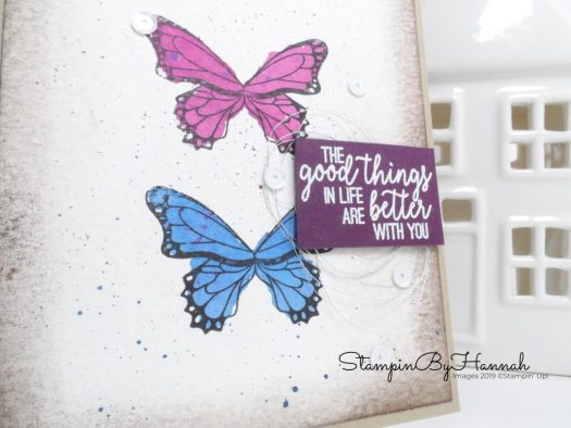 Simple Shabby Chic note card using Butterfly Gala from Stampin' Up! with StampinByHannah