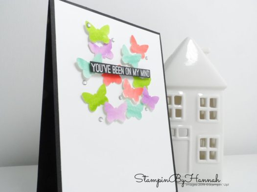 Watercolour Punch art thinking of you card using Butterfly Gala from Stampin' Up! with StampinByHannah