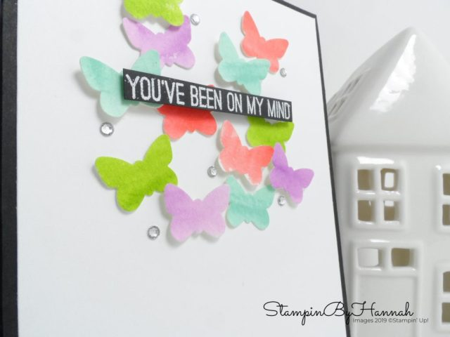 You've Been on my mind Butterfly Card watercoloured with Butterfly Gala from Stampin' Up! with StampinByHannah