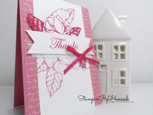 Pretty Pink Thanks card using Good Morning Magnolia from Stampin' Up! with StampinByHannah